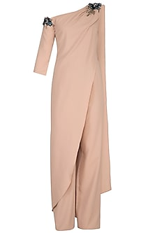 Beige Embellished One Shoulder Jumpsuit by Platinoir