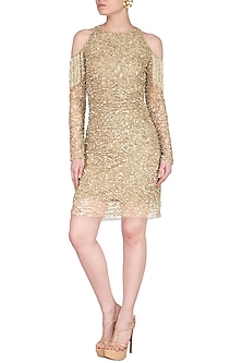 Gold Embroidered Cold Shoulder Dress by Platinoir