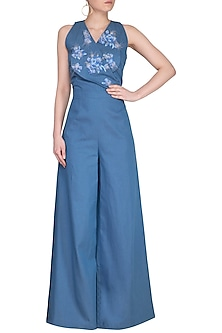 Blue Embroidered Denim Flap Jumpsuit by Platinoir