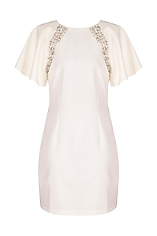 Off White Embroidered Dress by Platinoir