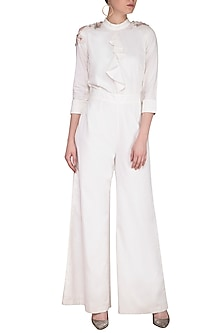 Off White Embroidered Ruffled Jumpsuit by Platinoir