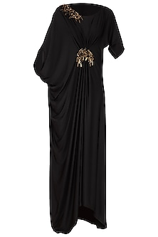 Black Embroidered Asymmetrical Draped Gown by Platinoir