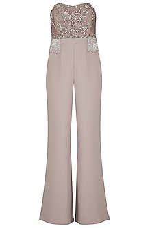 Taupe embroidered Corset Jumpsuit by Platinoir