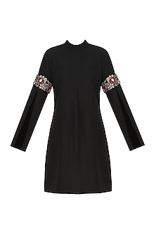 Black Embroidered Slit Sleeves Dress by Platinoir