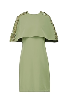 Pickle Green Embroidered Cape Dress
