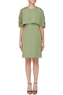Pickle Green Cape Dress