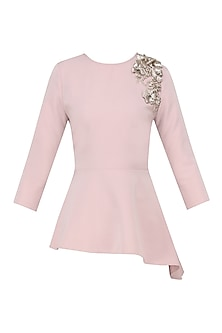 Blush Embroidered Asymmetrical Top
