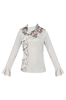 Taupe Ruffled Top