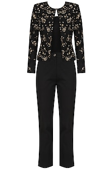Black Golden Sequins Jacket Pant Set