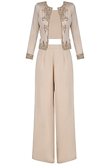 Light Beige Jacket with Crop Top and Palazzo Pants
