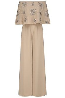 Beige Off-Shoulder Jumpsuit