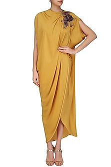 Mustard Colored Drape Gown by Platinoir