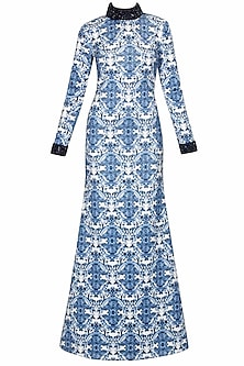 Blue and white digital printed fish cut gown