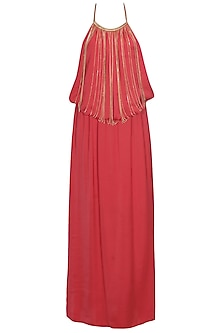Red chain embellished gathered long gown