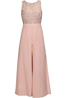 Pale pink crystal embroidered cut out jumpsuit