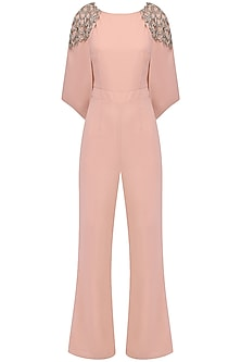 Rose Pink Embellished Cape Jumpsuit