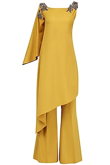Mustard One Shoulder Top and Pant Set