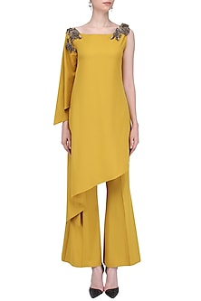 Mustard One Shoulder Top and Pant Set by Platinoir