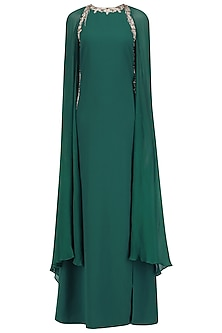 Emerald Green Elongated Sheer Cape Style Sleeve Gown