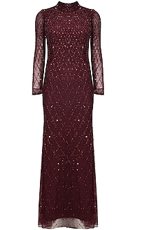 Wine sequins and beads embellished full sleeves gown