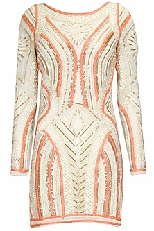 Ivory and coral structural cord embroidered full sleeves short dress
