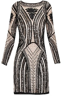 Blush and black structural cord embroidered full sleeves short dress