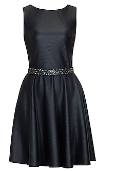 Deep navy blue faux leather skater dress with embroidered waist belt