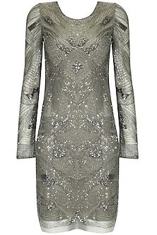 Grey abstract beads and cutdana embellished short dress