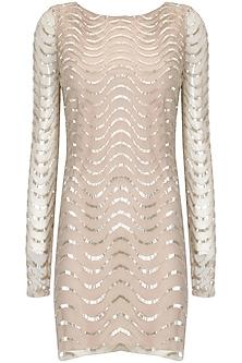 Blush cutdana embellished short dress