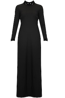 Black beads embroidered evening formal gown