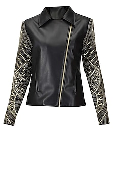 Black and antique gold embroidered leather jacket