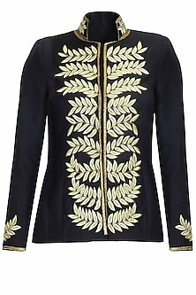 Navy and gold leaves embroidered military woolen jacket