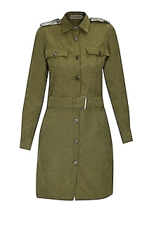 Olive studded trench coat by Platinoir