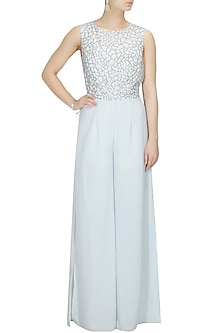 Icy blue crystal jumpsuit by Platinoir