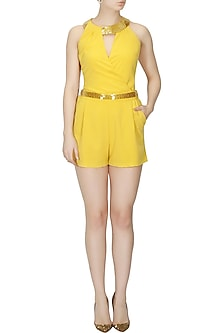 Mustard overlapped playsuit by Platinoir