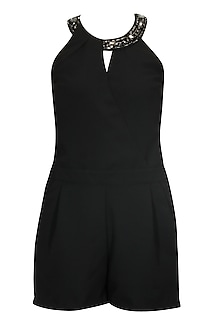 Black overlapped playsuit by Platinoir