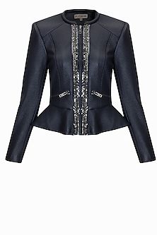 Deep navy studs and crystal embroidered embossed leather peplum jacket