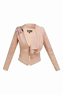 Pink 3D flowers embroidered layered collar jacket