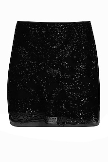 Black beads embroidered short skirt by Platinoir