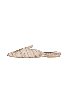 Nude & Gold Embroidered Mules by PURRPLE CLOUDS