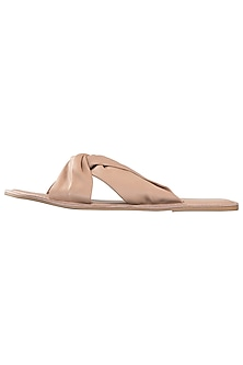 Nude leather sliders by PURRPLE CLOUDS