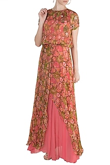 Peach Embellished Printed Maxi Dress With Inner by Pallavi Jaipur