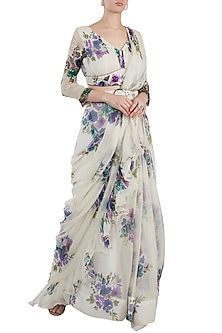 Ivory Printed Pre-Stitched Saree Set With Belt by Pallavi Jaipur