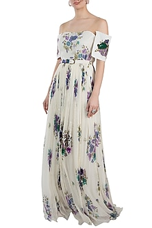 Ivory Printed Embroidered Maxi Dress With Belt by Pallavi Jaipur