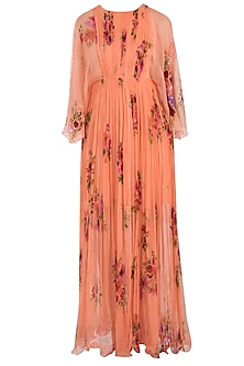 Peach Printed Maxi Dress by Pallavi Jaipur