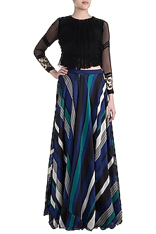 Black Embroidered Top With Printed Pants by Pallavi Jaipur