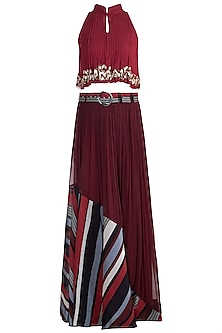 Deep Red Embroidered Boho Top With Printed Skirt by Pallavi Jaipur