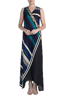 Peacock Blue & Black Embroidered Printed Kurta With Pants by Pallavi Jaipur
