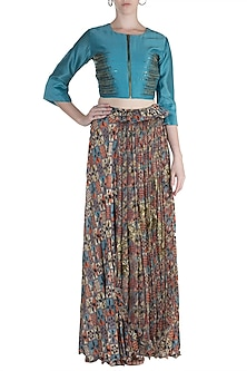 Teal Blue Top With Embellished Printed Skirt by Pallavi Jaipur