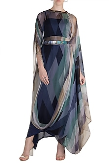 Navy Blue Embellished Printed Draped Kurta With Pants, Tube Top & Belt by Pallavi Jaipur